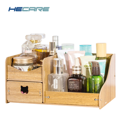 HECARE New Wood Make Up Organizer Home Office Storage Box for Cosmetics Box Korean Wooden Make Up Box Jewelry Storage Organizer