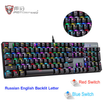 цена на Motospeed CK104 Gaming Mechanical Keyboard 104keys Russian English Red Switch Blue Metal Wired LED Backlit RGB Tablet Desktop