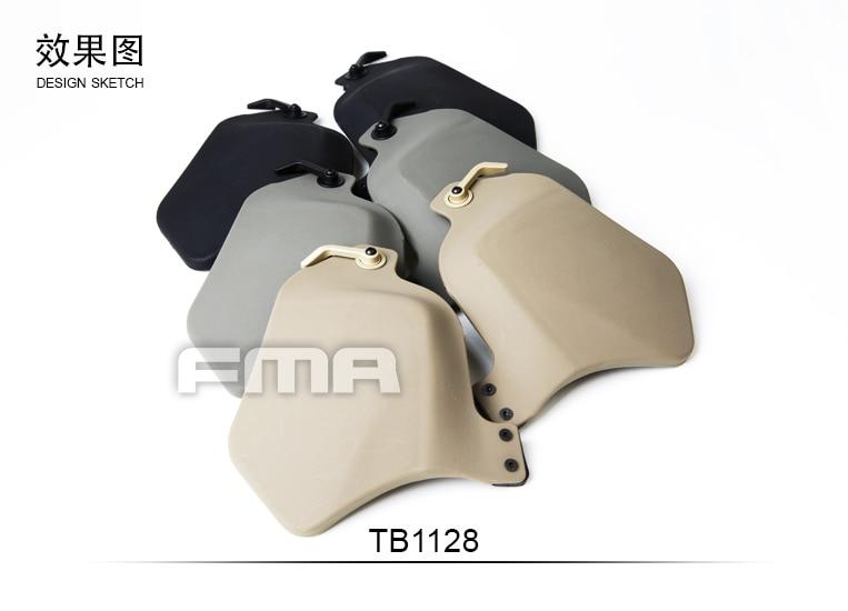Helmet Plastic Side Protective Face Cover Survive Ear Protection Rail Kit w/Pad BK/DE/FG
