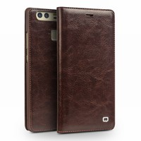 2016 QIALINO NEW Cases For Huawei Ascend P9 Luxury Genuine Leather Flip Case For Huawei Ascend