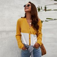 Women Long Sleeve V Neck Button Down Three Color Lace Up Fashion New Tops