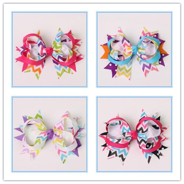 5 palců boutique děti velké dívky ozdoby na vlasy z mašle se stuhami grosgrain s klipy pro dívky holínky doplňky do vlasů vlásenky