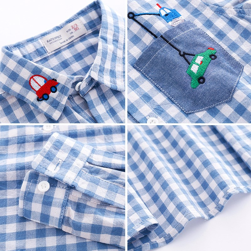Kids Clothes Boys Shirts Spring Casual Cotton Long Sleeve Boys Shirt Children Clothing Plaid Outfits Toddler baby boy shirt in Shirts from Mother Kids