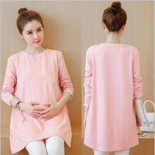 Autumn New Nursing Dress for Feeding Loose Casual Breastfeeding Clothes for Pregnant Women Pink Slim Maternity Dresses