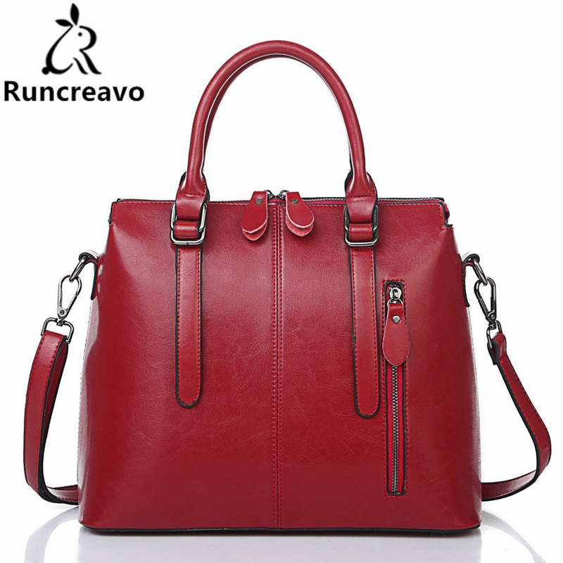 Runcreavo 2018 New Arrival Brand Genuine leather Women Handbag Soft Leather Fashion Shoulder Bag Large capacity Casual Women Bag 2018 new arrival soft cow leather bucket bag fashion designer women shoulder bag large capacity genuine leather women handbag