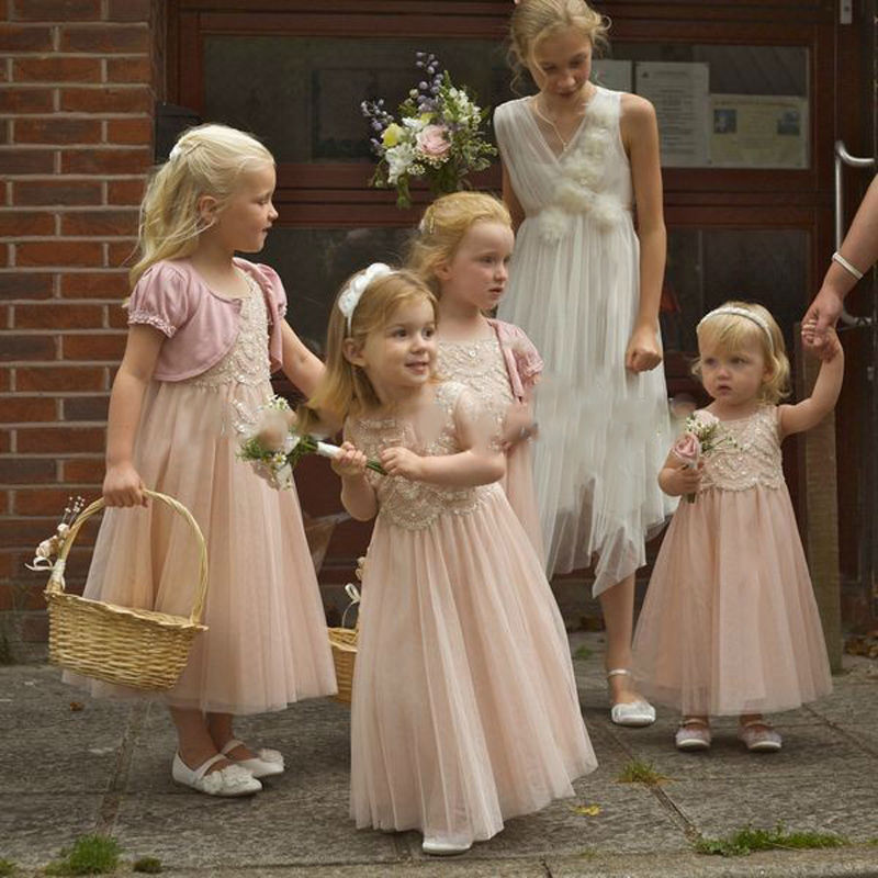 2017 New Appliques Flower Girl Dresses for Wedding Hot Sale Ankel Length A-Line Lace First Communion Gown Pageant Vestidos Longo new holy pink flower girls dresses a line lace appliques 2017 wedding girl wear first communion dress vestidos de long sleeves