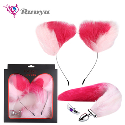 2018 New Cosplay Fox Tail Ears Set  No Vibrator Metal Anal Plug Fox Tail Deformable Fox Tail Butt Plug for Couples Flirting