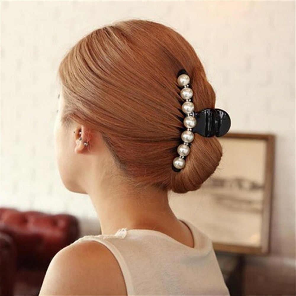 Black Big Rhinestone Hairpins For Women Pearl Hair Clips Crab Hair Claws For Girls Barrettes Headwear Hair Pins Accessories