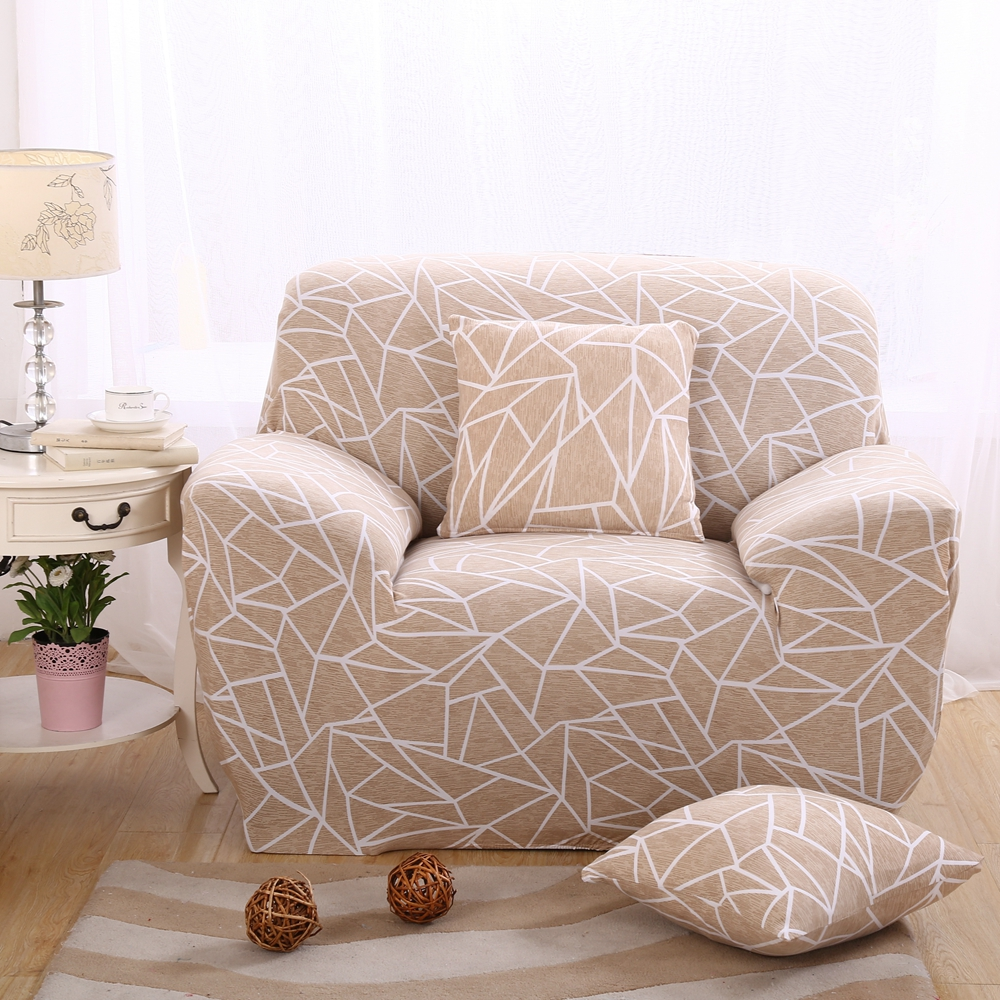 Beautiful Light Brown Geometric Printed Sofa Covers Modern Simple Sofa Slipcovers/corner  Sofa 1 4