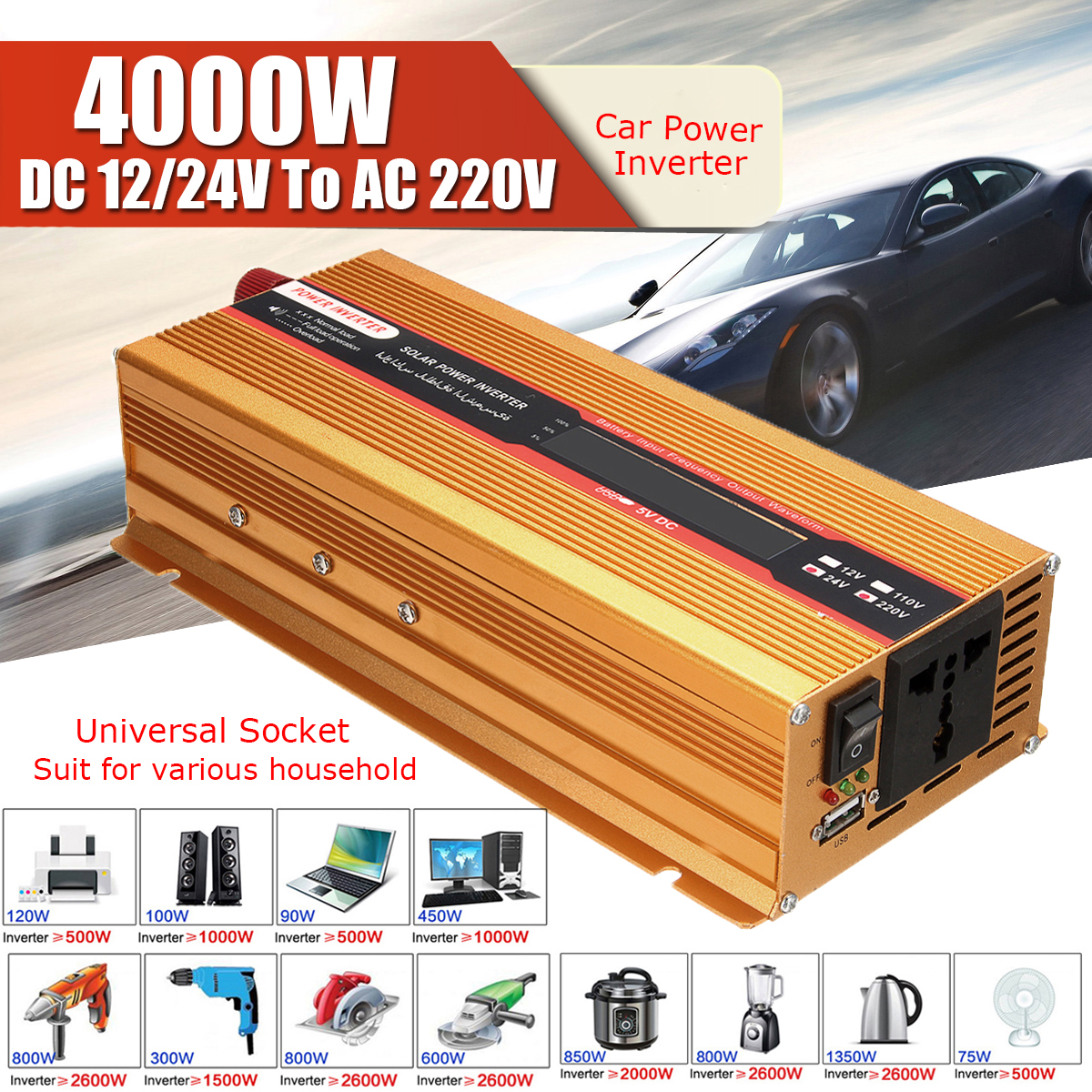 4000W 12/24V To AC 220/110V USB Modified Sine Wave Converter Car Power Inverter Voltage Transformer for Various Appliances peak 4000w 12 24v to ac 220 110v car power inverter usb modified sine wave converter voltage transformer for various appliances