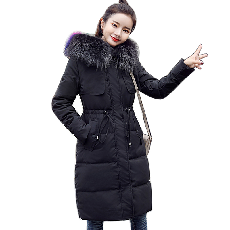 women Winter White duck   down     coat   High-end Brand 2018 Women Long Slim Thick White Duck   Down   Jacket   Coat   Female Fashion Warm   Coat