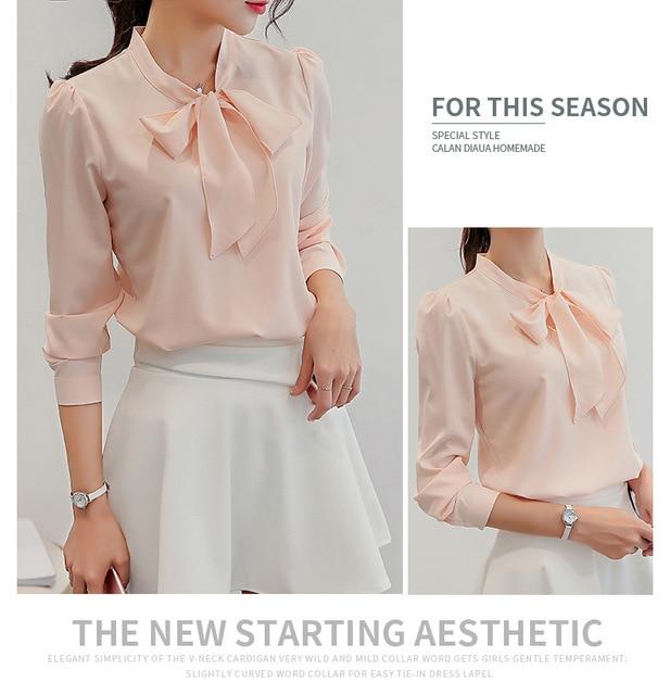 Women Long Sleeve Shirts Fashion Leisure Chiffon Shirt Bow Office Ladies Pink White Tops 6
