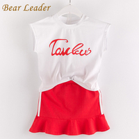 Bear Leader Girls Dress 2017 NEW Fashion Summer Style Girls Clothes White Letter T-shirt+Red Dress 2Pcs for Kids Clothing Sets