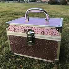 Waterproof Password Lock Makeup Box Women Aluminum Alloy Professional Cosmetic Bag Double Layer Built-in Mirror Toiletries Case цена и фото