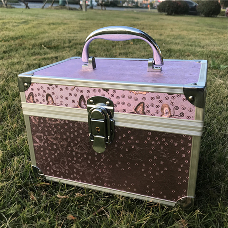 Waterproof Password Lock Makeup Box Women Aluminum Alloy Professional Cosmetic Bag Double Layer Built in Mirror Toiletries Case
