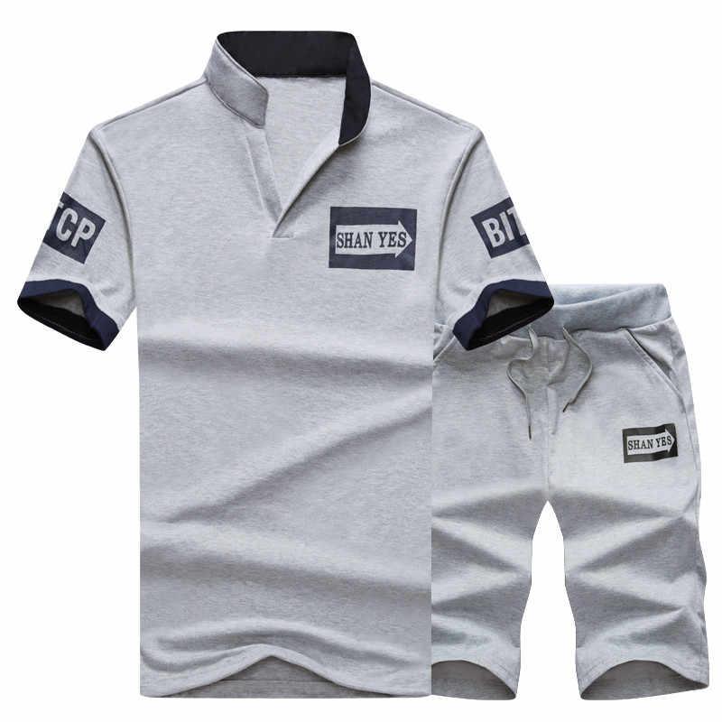男性セットフィットネススキニーパンツタイトなメンズスーツ夏セット半袖 Tシャツ + ショーツスポーツウェアジャージスリムフィット弾性服