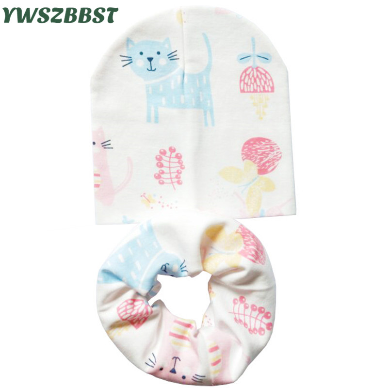 2pcs/set Baby Hat Scarf set Autumn Winter Cotton Caps Child Infant Kids for Boys Girls 0-3 years