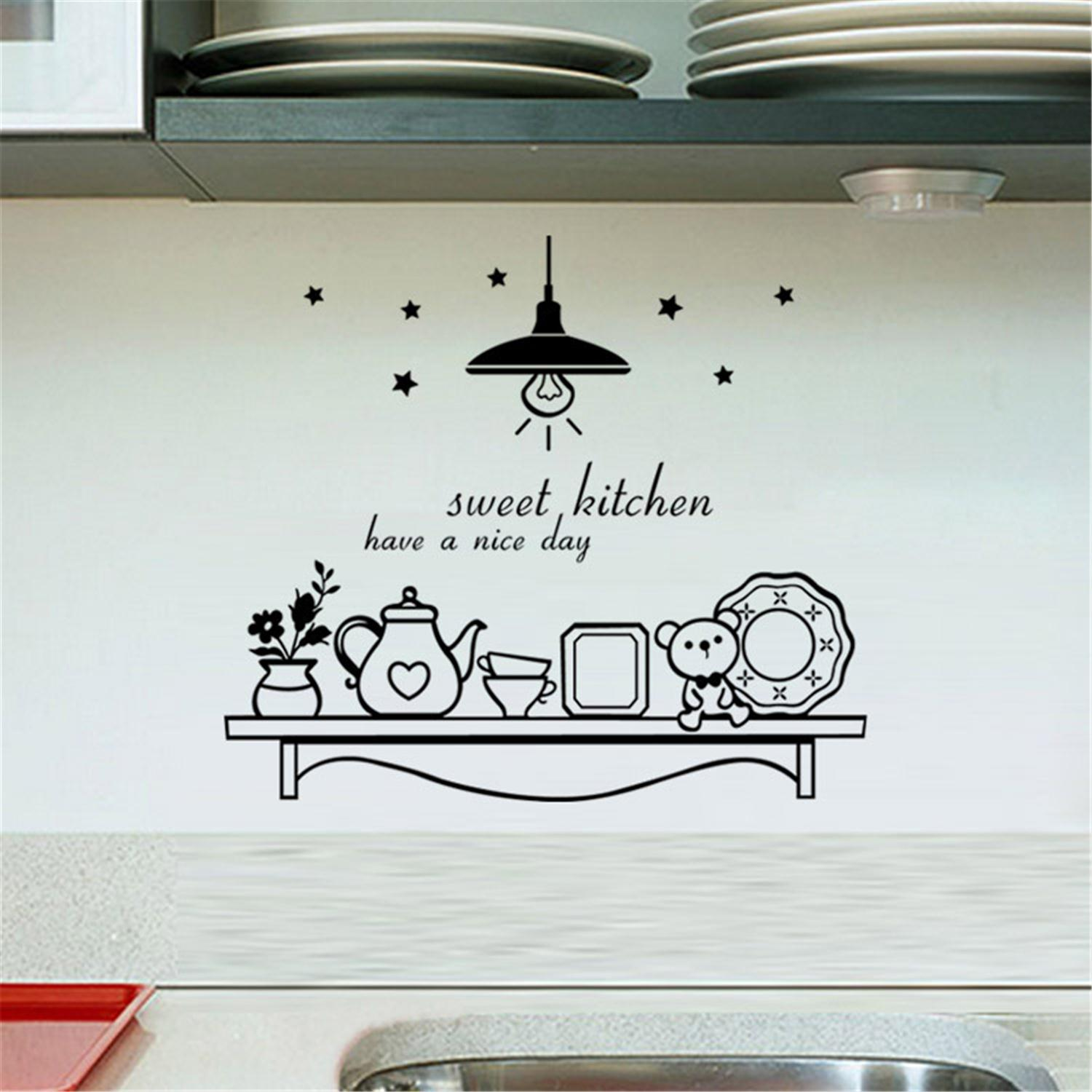 Romantic Sweet Afternoon Tea Tool Wall Sticker Fashion Art Wallpaper For Kitchen Dining Room Cabinet Decor