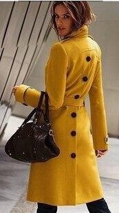 Новинка, модное женское зимнее шерстяное пальто с длинным рукавом, чистый цвет, открытая вилка, пальто, высокое качество, женская одежда, пальто G1514 - Цвет: yellow