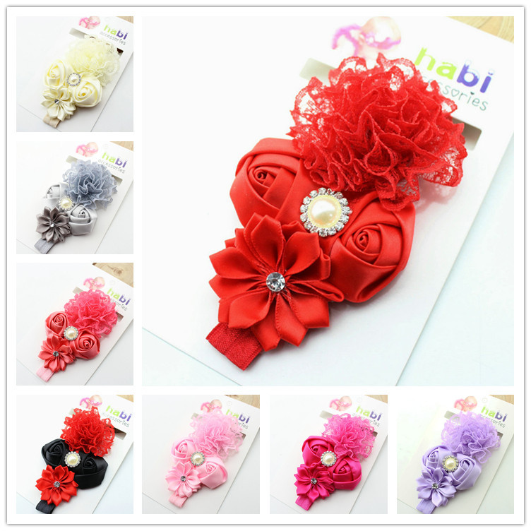 2015 new pearl lace flower baby girls headband elastic band headwear kids hair accessories