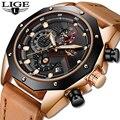Мужские кварцевые часы LIGE  повседневные часы золотого цвета с кожаным ремешком в стиле милитари  спортивные водонепроницаемые наручные час...