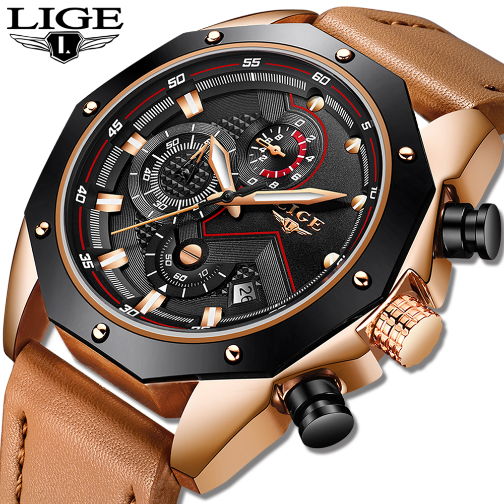 LIGE Mens Watches Top Brand Luxury Quartz Gold Watch Men Casual Leather Military Waterproof Sport Wristwatch Relogio Masculino