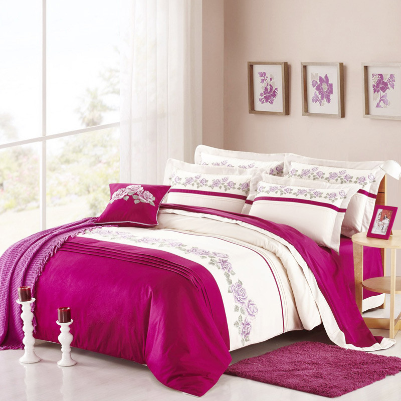 Luxury Embroidery Bedding Set Queen King Size 4pcs Bed Linen 100% cotton Duvet Cover Bed Sheet Set PillowcasesLuxury Embroidery Bedding Set Queen King Size 4pcs Bed Linen 100% cotton Duvet Cover Bed Sheet Set Pillowcases