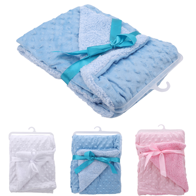 Soft Baby Blankets Warm Fleece Cartoon Beanie Newborn Stroller Sleep Cover Infant Bedding Quilt Swaddling Wrap Kids Bath Towel