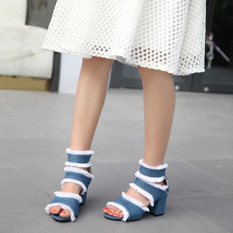 Große Größe High heels sandalen frauen schuhe frau sommer damen Tasseled mit hohen absätzen sondern schuhe