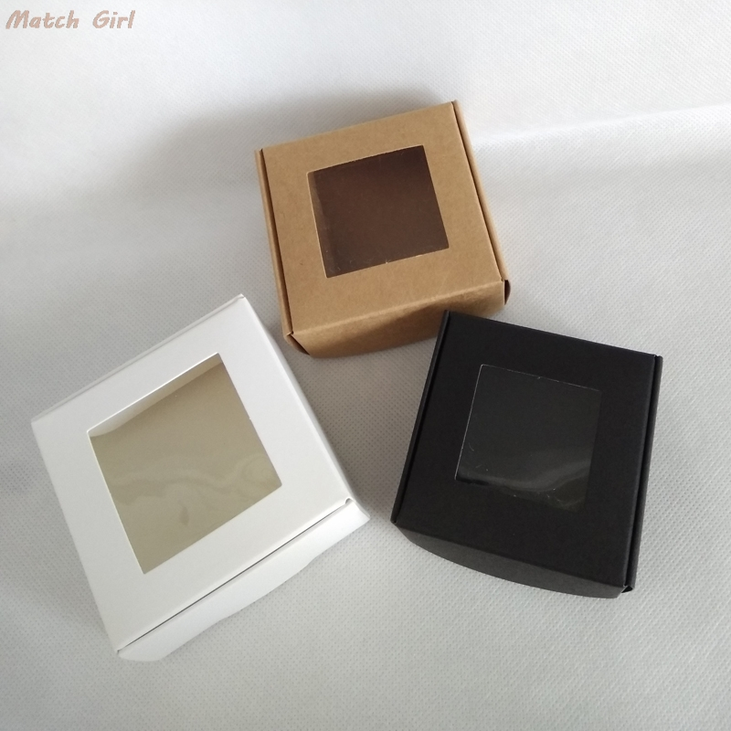 50pcs White Foldable Paper Box Kraft With Pvc Window Black