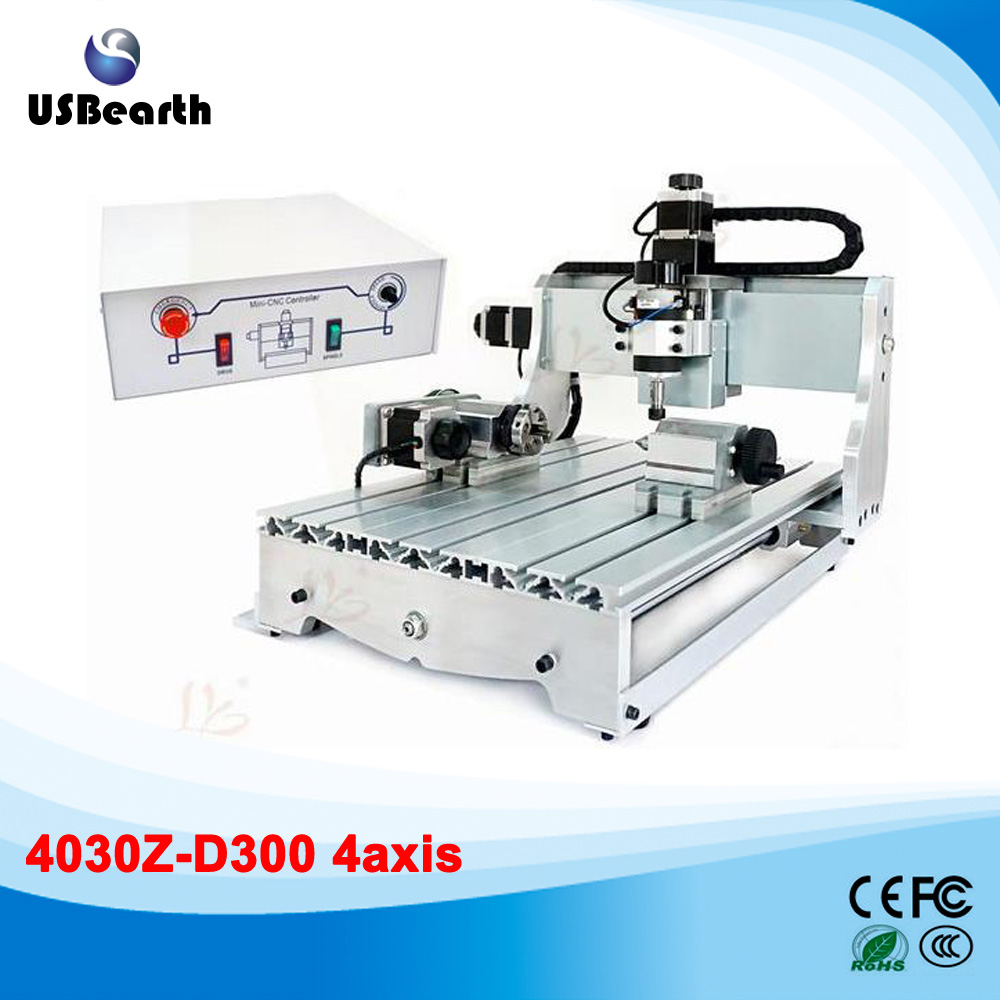4axis mini cnc engraving machine 3040Z-D300 with 300W cnc spindle wood lathe free shiping 300w cnc 3040 300 dc power spindle motor 4 axis cnc engraving machine drilling router