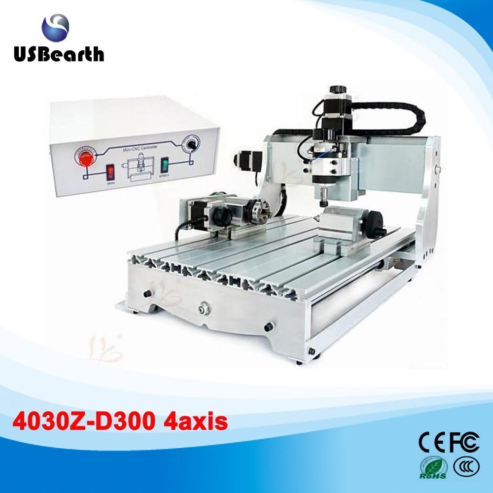 4axis mini cnc engraving machine 3040Z-D300 with 300W cnc spindle wood lathe no tax mini desktop cnc milling engraving machine cnc 3020z d300 with ball screw and 300w spindle