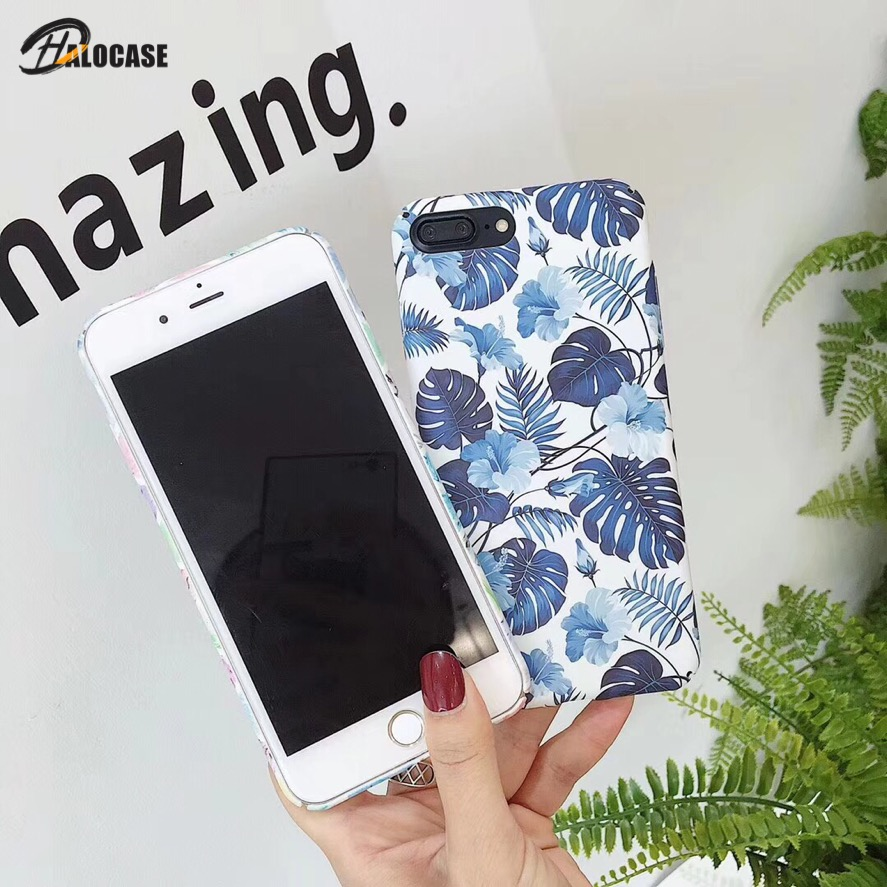HALOCASE For Iphone X XR XS8 7 6 6s Plus Marble  Image Rose Flower Leaf Painted Pattern Cover Slim Hard PC Back Cases For iPoneX marvel glass iphone case