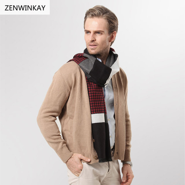 fe71510308ddb 2017 Male Winter Scarf for Men Scarf Pashmina Wool Scarf Warm Long Cashmere  Scarves Winter Wrap