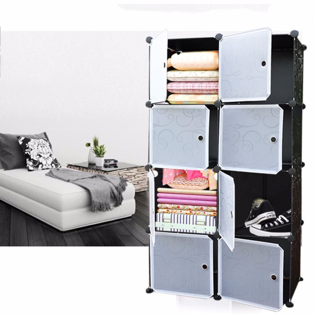 8 Lattice DIY Assembled Wardrobe Simple Wardrobe Hanging Clothes Storage  Cabinet Baby Wardrobe Home Furniture