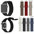 For Apple Watch Band 42mm Correa Leather Loop Band Premium Soft Adjustable Magnetic Closure for iWatch Strap Midnight Blue