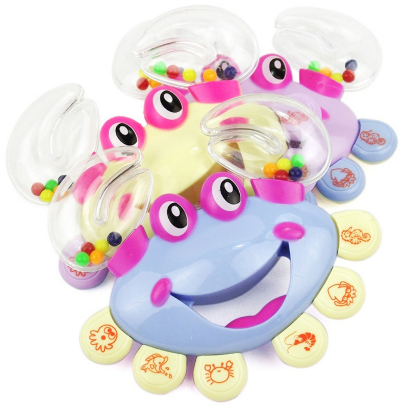 2018 New Baby Rattles Toys Crab Design Hand Bell Musical Jingle Shaking Educational Toys Mobile Newborn Baby Toys