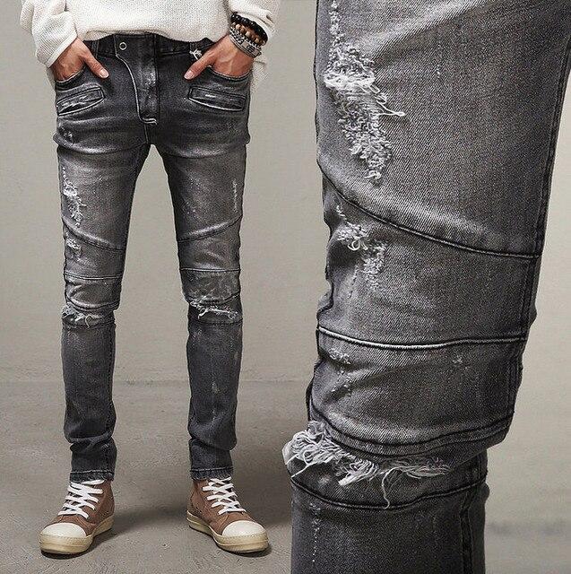 Мода стиль 2017 Мужчины тонкие джинсы мужские Проблемные Байкер джинсы Hip Hop Брюки Мужские Брюки карандаш Мыть Серые джинсы для мужчины