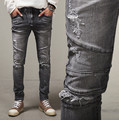 Fashion style 2017 Men slim jeans Men's Distressed Biker jeans Hip Hop Pants Male pencil Pants Washed Grey jeans for Men