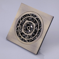 Free Shipping!! Copper Antique Deodorant Floor Drain Strainers Shower Room/Balcony Engineering Floor Drains Filter Covers Bronze