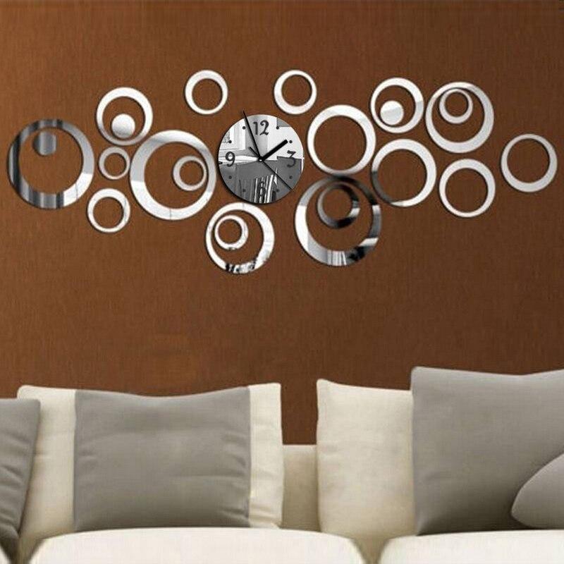 2017 New Quartz Wall Clock Europe Design Reloj De Pared Large Decorative Clocks 3d Diy Acrylic Mirror Living Room senior swan round shape diy 3d mirror wall stick clock