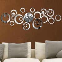 2019 nuevo Reloj De Pared De cuarzo diseño europeo Reloj De Pared grandes relojes decorativos 3d Diy espejo acrílico sala De estar