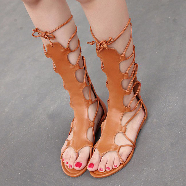 2016 Summer Gladiator Sandals Women Shoes Brand Lace Up Flip Flops Cross Strap High Heels Cut-outs Flat Women Sandals XWF0441-5