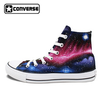 New Galaxy Converse All Star Hand Painted Shoes Nebula Universe High Top Canvas Sneakers Women Men