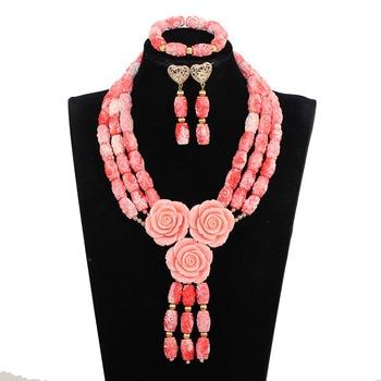 Elegant Pink Coral Wedding Jewelry Set for Women Nigerian African Coral Bridal Statement Pendant Necklace Set Rose Flower CNR045