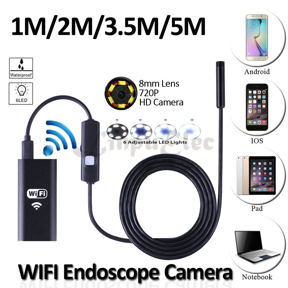 HD720P WIFI  Iphone IOS Endoscope Camera 8mm Lens 5M 3.5M 2M 1M Flexible Snake USB Inspection Android Borescope  Laptop Camera 8mm 1m 2m 3 5m wifi ios endoscope camera borescope ip67 waterproof inspection for iphone endoscope android pc hd ip camera