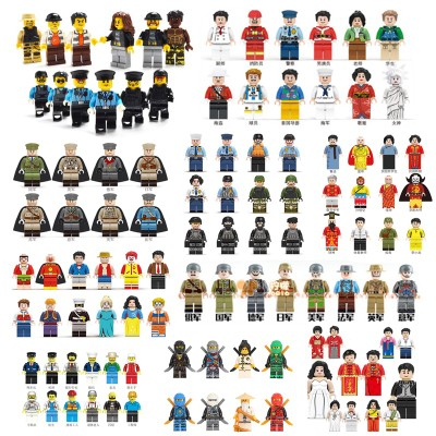 200 style minifigures compatible with Legoe small particle building blocks, splicing toys, military police villain doll doll