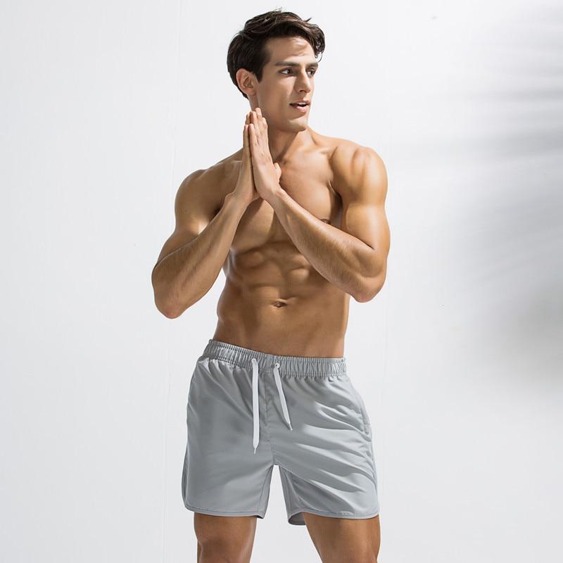 Zipper Pure Color Youth Low Waist Loose Beach Pants Men Fitness Running Sports Pants Mens Board Shorts Beach Shorts Swim Short