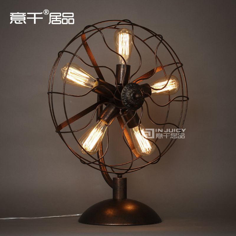 Vintage RH Loft Industrial Edison Electric Fan Metal Table Lamp American  Loft RH Black With Rust Ajustable Include 5 Edison Bulb In Desk Lamps From  Lights ...