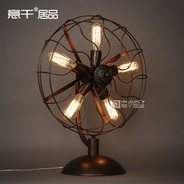 Vintage RH Loft Industrial Edison Electric Fan Metal Table Lamp American Loft RH Black With Rust Ajustable Include 5 Edison Bulb
